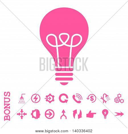 Lamp Bulb vector icon. Image style is a flat iconic symbol, pink color, white background.