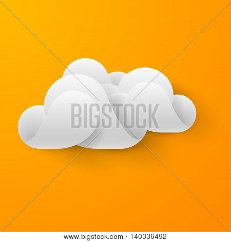 Abstract white cloud made of curved elements on bright orange background. Cloud computing