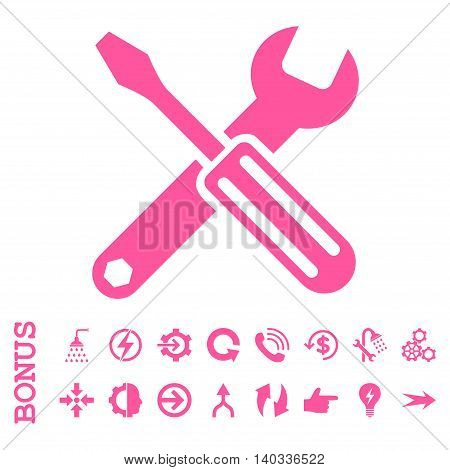 Options vector icon. Image style is a flat pictogram symbol, pink color, white background.