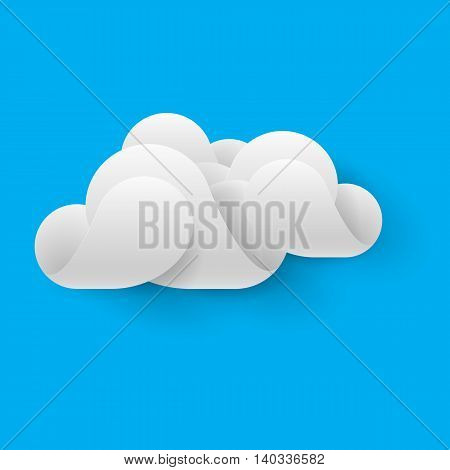Abstract white cloud made of curved elements on blue sky background. Cloud computing