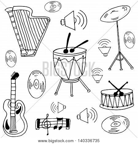 Doodle of music set collection vector illustration