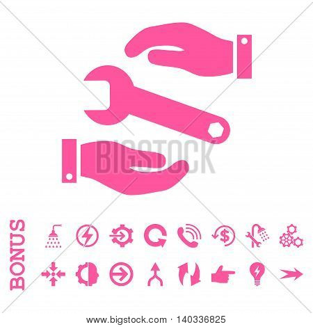 Service vector icon. Image style is a flat iconic symbol, pink color, white background.