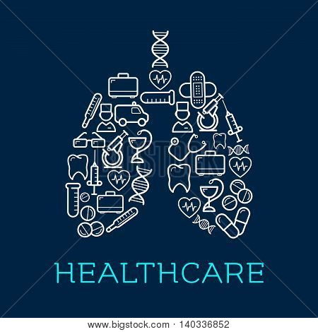 Human lungs symbol created of medical icons for healthcare design usage with doctors and ambulance, thermometers and stethoscopes, pills and syringes, hearts, DNA and teeth, microscopes, test tubes and first aid kits