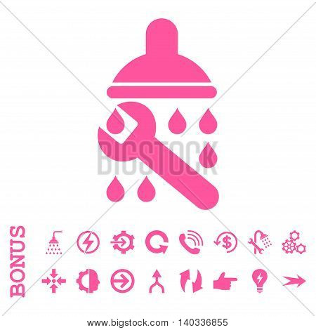 Shower Plumbing vector icon. Image style is a flat pictogram symbol, pink color, white background.
