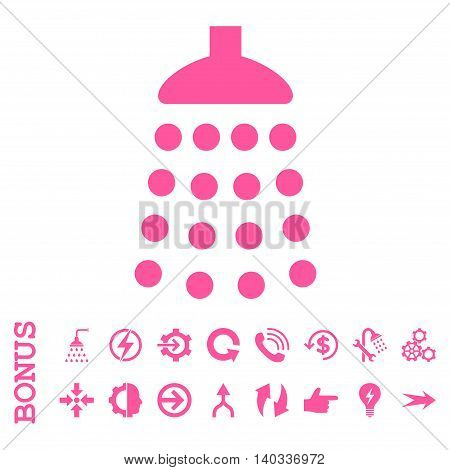 Shower vector icon. Image style is a flat iconic symbol, pink color, white background.
