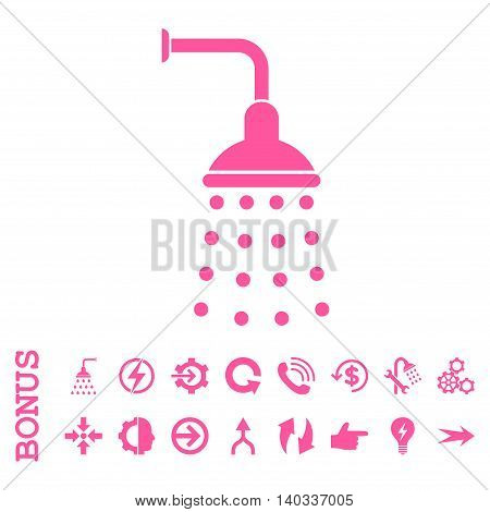 Shower vector icon. Image style is a flat pictogram symbol, pink color, white background.