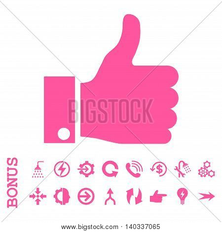 Thumb Up vector icon. Image style is a flat iconic symbol, pink color, white background.