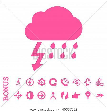 Thunderstorm vector icon. Image style is a flat pictogram symbol, pink color, white background.
