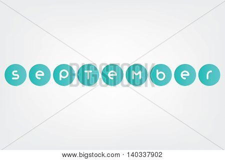 september, names of months of the year in white background