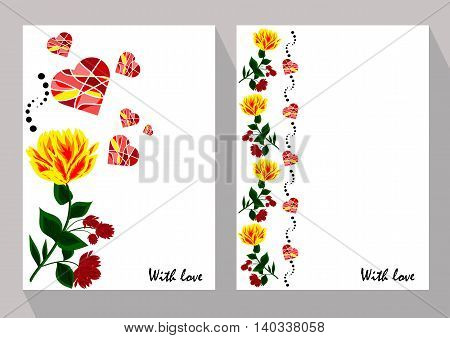 Greeting cards with abstract yellow and red flowers in ethnic style for declarations of love a gift for a loved one or a donation for the holiday or other