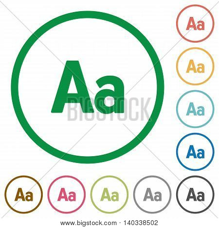 Set of adjust font size color round outlined flat icons on white background