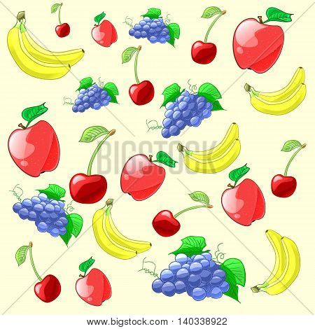Colorful and fresh fruits pattern. Apple, cherry, grapes and bananas. Vector illustration.