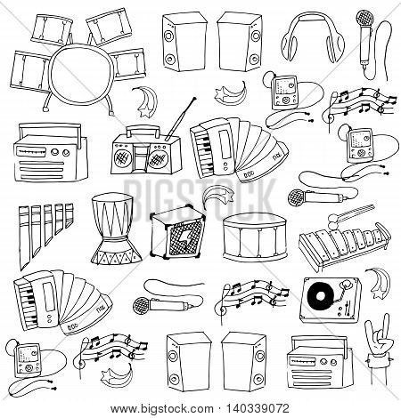 Doodle of music icons set vector illustration