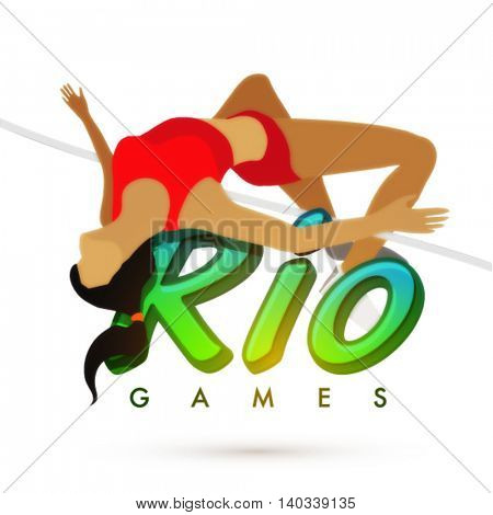 Illustration of a female athlete in action of high jump with stylish text Rio Games on white background for Sports concept.