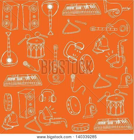 On orange backgrounds music doodles vectoor illustration