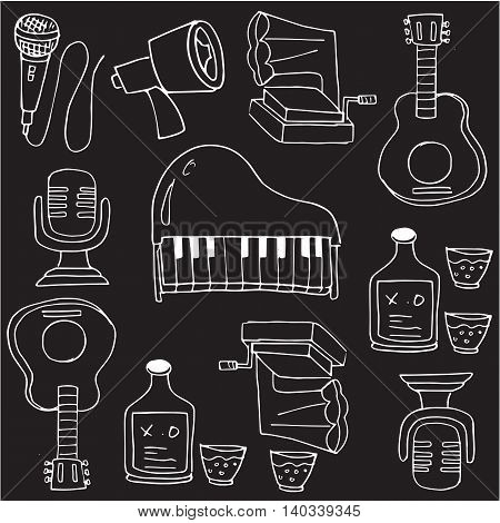 Doodle of music stock collection vectoor iillustration