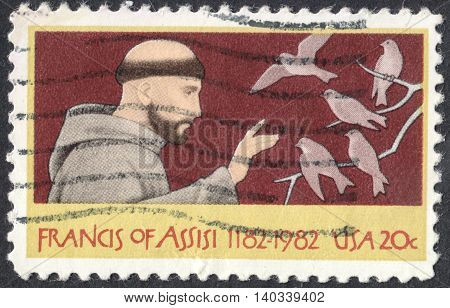 MOSCOW RUSSIA - CIRCA APRIL 2016: a post stamp printed in the USA shows St. Francis of Assisi circa 1982