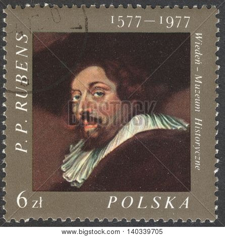 MOSCOW RUSSIA - CIRCA FEBRUARY 2016: a post stamp printed in POLAND shows a self-portrait of Rubens the series