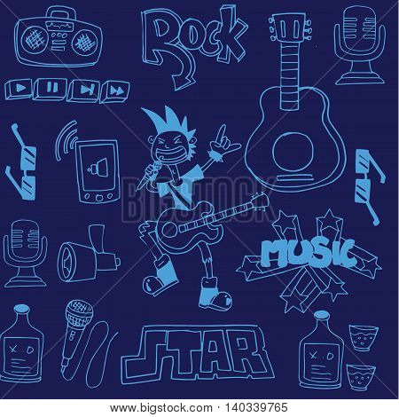 Doodle of music on blue backgrounds illustration