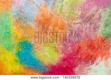Colorful background drawn with crayons. Background for school. Place for your text