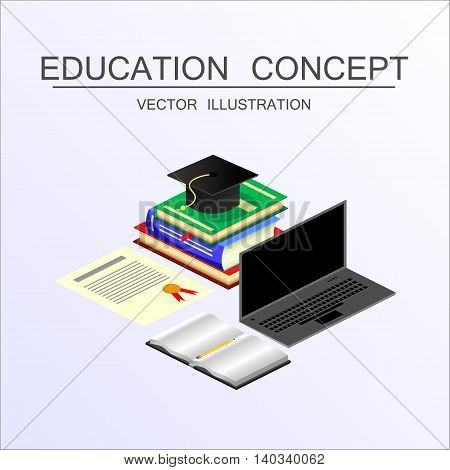 Beautiful isometric education and graduation vector illustration concept. 3d back to school background in flat style