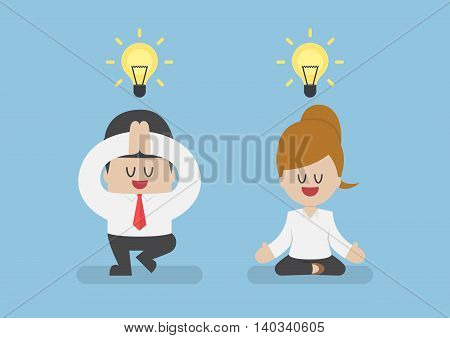 Business people meditating in yoga pose meditation and healthy Concept