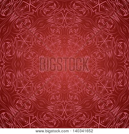 Abstract pattern in red with sharp line round ornament