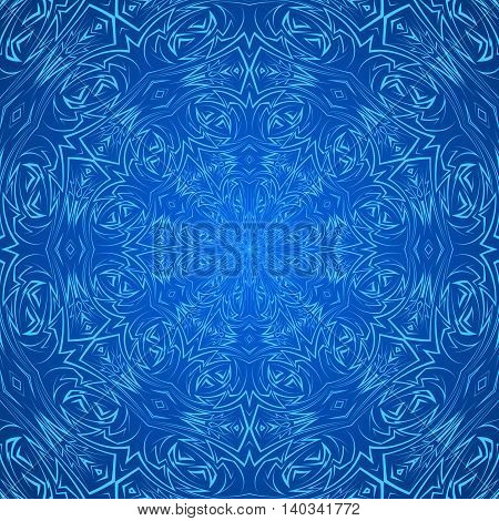 Abstract pattern in blue with sharp line round ornament