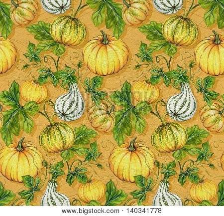 amazing pumpkin pattern. seamless squash design on yellow background. For autumn, wrapping paper, back to school, halloween and other products.