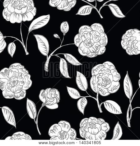 Doodle floral seamless pattern on black background