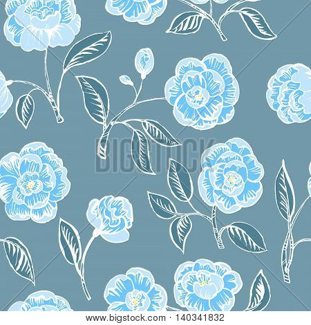 Doodle floral seamless pattern in blue colors