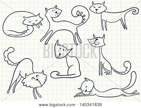 Doodle vector cute cats vector set isolated on white