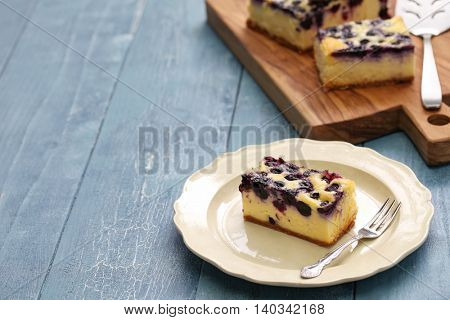 blueberry cheesecake, homemade dessert