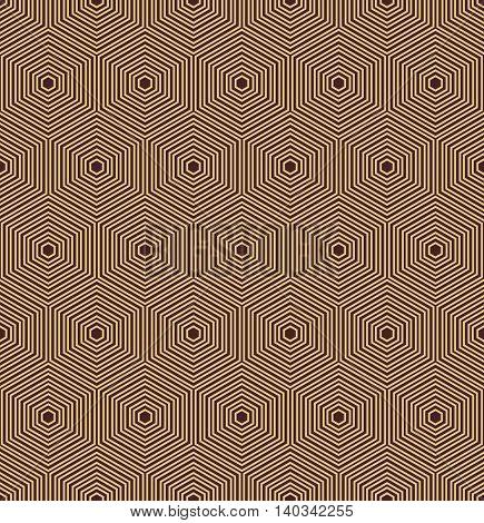 Geometric fine abstract vector hexagonal background. Seamless modern pattern. Brown and golden pattern