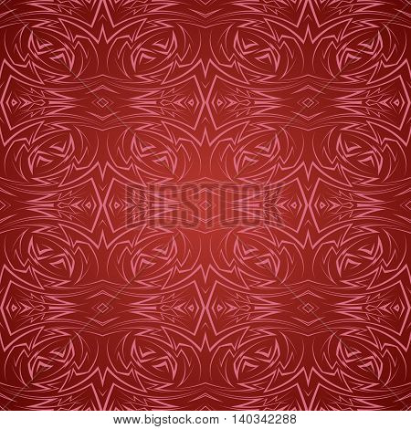 Abstract seamless pattern in red with sharp line ornament
