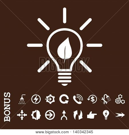 Eco Light Bulb vector icon. Image style is a flat pictogram symbol, white color, brown background.