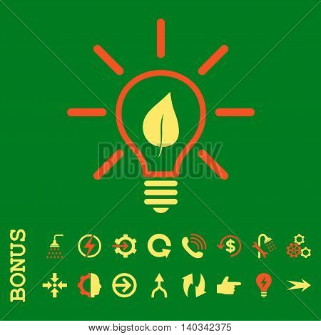 Eco Light Bulb vector bicolor icon. Image style is a flat iconic symbol, orange and yellow colors, green background.