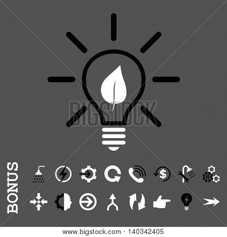 Eco Light Bulb vector bicolor icon. Image style is a flat pictogram symbol, black and white colors, gray background.