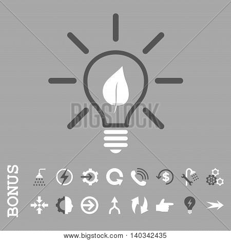 Eco Light Bulb vector bicolor icon. Image style is a flat pictogram symbol, dark gray and white colors, silver background.