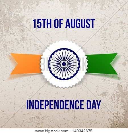 India Independence Day Tag with Ribbon. Vector Illustration