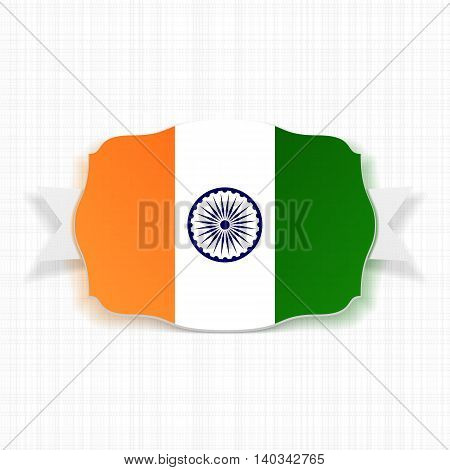 India Flag Label with Ribbon. Vector illustration