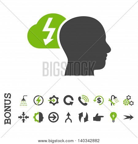 Brainstorming vector bicolor icon. Image style is a flat iconic symbol, eco green and gray colors, white background.