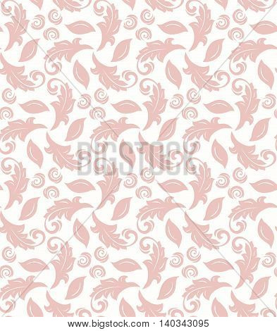 Floral vector ornament. Seamless abstract classic pattern with flowers. Light pink and white pattern