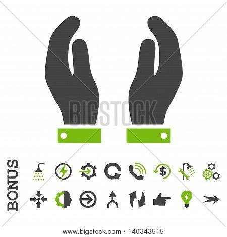 Care Hands vector bicolor icon. Image style is a flat iconic symbol, eco green and gray colors, white background.