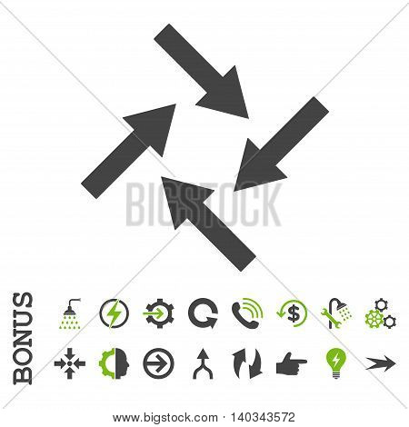 Centripetal Arrows vector bicolor icon. Image style is a flat iconic symbol, eco green and gray colors, white background.