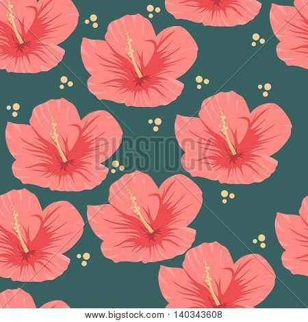 Seamless pattern of tropical red hibiscus flowers on a dark green background