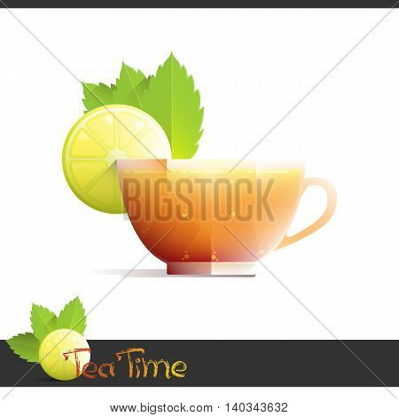 Cup of iced tea with lemon slice, isolated on white background. Vector illustration 10 EPS