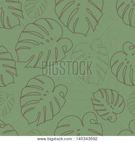 Monstera outlines brown leaves seamless pattern on a green background. Seamless pattern can be used for pattern fills web page backgroundsurface textures.