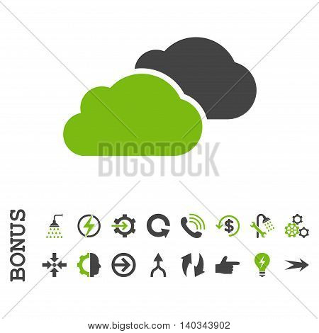 Clouds vector bicolor icon. Image style is a flat iconic symbol, eco green and gray colors, white background.