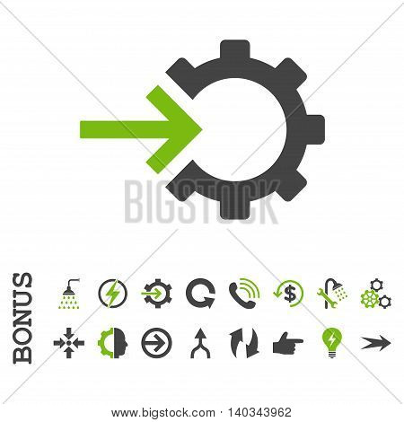 Cog Integration vector bicolor icon. Image style is a flat pictogram symbol, eco green and gray colors, white background.